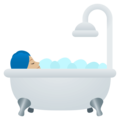 Person Taking Bath: Medium-Light Skin Tone on EmojiOne 4.0
