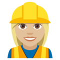 Woman Construction Worker: Medium-Light Skin Tone on EmojiOne 4.0