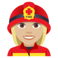 Woman Firefighter: Medium-Light Skin Tone on EmojiOne 4.0