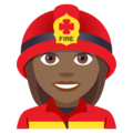Woman Firefighter: Medium-Dark Skin Tone on EmojiOne 4.0