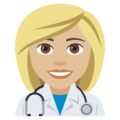 Woman Health Worker: Medium-Light Skin Tone on EmojiOne 4.0