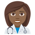Woman Health Worker: Medium-Dark Skin Tone on EmojiOne 4.0