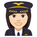 Woman Pilot: Light Skin Tone on EmojiOne 4.0
