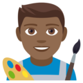 Man Artist: Medium-Dark Skin Tone on EmojiOne 4.0