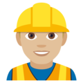 Man Construction Worker: Medium-Light Skin Tone on EmojiOne 4.0
