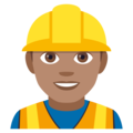 Man Construction Worker: Medium Skin Tone on EmojiOne 4.0