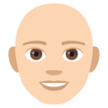 Man, Bald: Light Skin Tone on EmojiOne 4.0