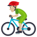 Man Biking: Medium-Light Skin Tone on EmojiOne 4.0