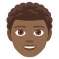 Man: Medium-Dark Skin Tone, Curly Hair on EmojiOne 4.0