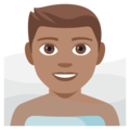 Man in Steamy Room: Medium Skin Tone on EmojiOne 4.0