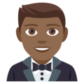 Man in Tuxedo: Medium-Dark Skin Tone on EmojiOne 4.0
