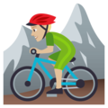 Man Mountain Biking: Medium-Light Skin Tone on EmojiOne 4.0