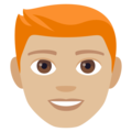 Man: Medium-Light Skin Tone, Red Hair on EmojiOne 4.0