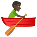 Man Rowing Boat: Dark Skin Tone on EmojiOne 4.0
