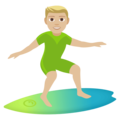 Man Surfing: Medium-Light Skin Tone on EmojiOne 4.0