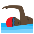 Man Swimming: Dark Skin Tone on EmojiOne 4.0