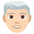 Man, White Haired: Light Skin Tone on EmojiOne 4.0