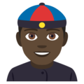 Man With Chinese Cap: Dark Skin Tone on EmojiOne 4.0