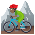 Person Mountain Biking: Medium-Dark Skin Tone on EmojiOne 4.0