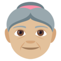Old Woman: Medium-Light Skin Tone on EmojiOne 4.0
