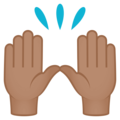 Raising Hands: Medium Skin Tone on EmojiOne 4.0