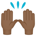 Raising Hands: Medium-Dark Skin Tone on EmojiOne 4.0