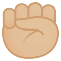 Raised Fist: Medium-Light Skin Tone on EmojiOne 4.0
