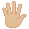 Hand With Fingers Splayed: Medium-Light Skin Tone on EmojiOne 4.0