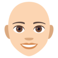 Woman, Bald: Light Skin Tone on EmojiOne 4.0