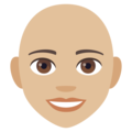 Woman: Medium-Light Skin Tone, Bald on EmojiOne 4.0