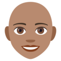 Woman, Bald: Medium Skin Tone on EmojiOne 4.0