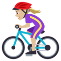 Woman Biking: Medium-Light Skin Tone on EmojiOne 4.0