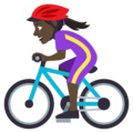 Woman Biking: Dark Skin Tone on EmojiOne 4.0