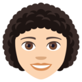 Woman, Curly Haired: Light Skin Tone on EmojiOne 4.0