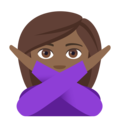 Woman Gesturing No: Medium-Dark Skin Tone on EmojiOne 4.0