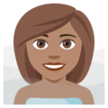 Woman in Steamy Room: Medium Skin Tone on EmojiOne 4.0