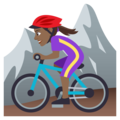 Woman Mountain Biking: Medium-Dark Skin Tone on EmojiOne 4.0