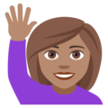 Woman Raising Hand: Medium Skin Tone on EmojiOne 4.0