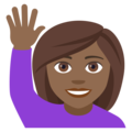 Woman Raising Hand: Medium-Dark Skin Tone on EmojiOne 4.0