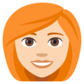 Woman, Red Haired: Light Skin Tone on EmojiOne 4.0