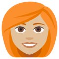 Woman: Medium-Light Skin Tone, Red Hair on EmojiOne 4.0