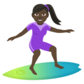Woman Surfing: Dark Skin Tone on EmojiOne 4.0