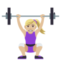 Woman Lifting Weights: Medium-Light Skin Tone on EmojiOne 4.0