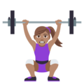 Woman Lifting Weights: Medium Skin Tone on EmojiOne 4.0