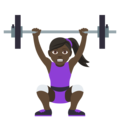 Woman Lifting Weights: Dark Skin Tone on EmojiOne 4.0