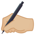 Writing Hand: Medium-Light Skin Tone on EmojiOne 4.0