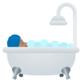 Person Taking Bath: Medium Skin Tone on EmojiOne 4.5