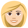 Woman: Light Skin Tone, Blond Hair on EmojiOne 4.5