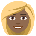 Woman: Medium-Dark Skin Tone, Blond Hair on EmojiOne 4.5
