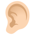Ear: Light Skin Tone on JoyPixels 4.5